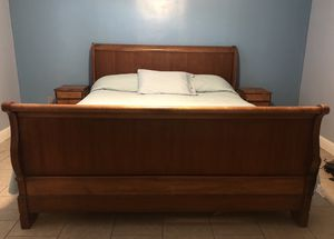King Bed Frame, Mattress, and 2 Night Stands for Sale in Fresno, CA