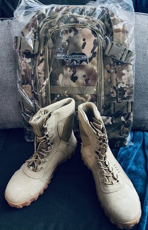 ARMY certified rocky combat boots size 9.5 and ARMY CalGuard backpack for Sale in Santa Ana, CA