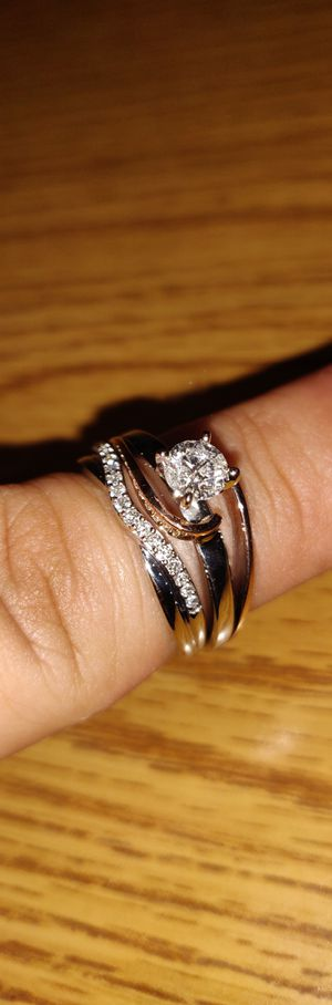 14k white / rose gold with .50 carat diamond engagement ring and 14k white gold wedding band with 1/10 total carat weight diamonds for Sale in Long Beach, CA