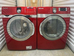 Red samsung vrt front load washer and electric dryer set with steam for Sale in Coppell, TX