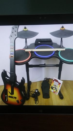 Guitar Hero World Tour Wii complete band setup and optional wireless guitar for Sale in San Diego, CA