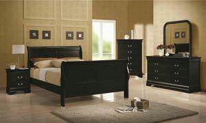 4pc black or cherry queen sleigh bedroom set for Sale in Marietta, GA
