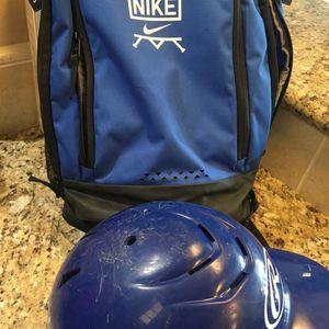 Lot boys baseball helmet and Nike backpack $30 for Sale in Bakersfield, CA