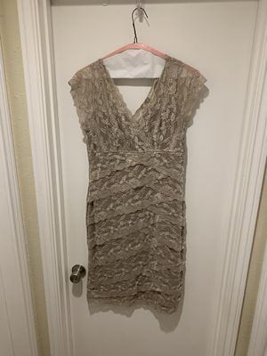 Dress barn Collection Champagne Beige Tan Lace Vneck Dress size 12 for Sale in Carrollton, TX