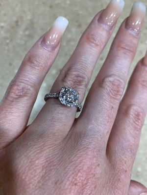 Helzberg cushion halo engagement ring, 14k white gold with CZ center stone for Sale in Tempe, AZ
