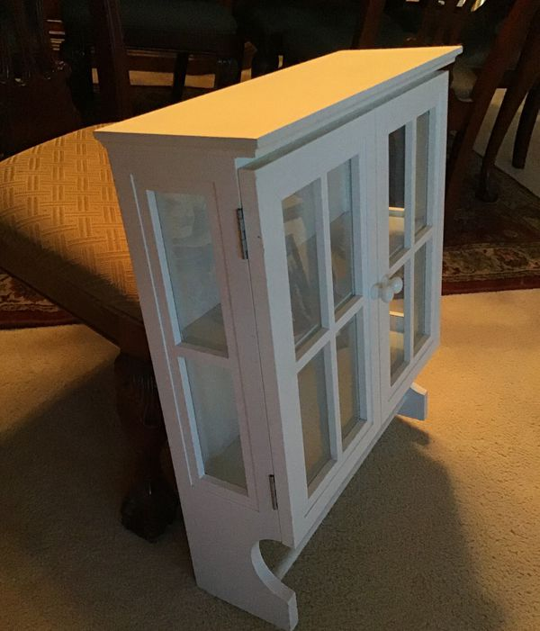 Pottery Barn White Wood Bathroom Wall Cabinet with Towel Bar and Glass Doors