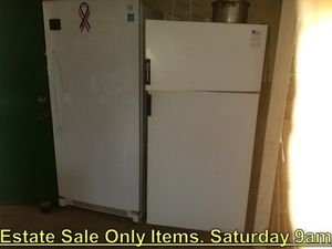 Top & Bottom Refrigerator. ESTATE SALE. SUNDAY 9AM - $60 for Sale in Roosevelt, CA