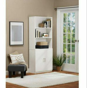 Ameriwood Home Moberly Bookcase with Doors, White for Sale in Las Vegas, NV