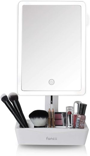 LED Lighted Large Vanity Makeup Mirror with 10X Magnifying Mirror - Dimmable Natural Light, Touch Screen, Dual Power, Adjustable Stand with Cosmetic for Sale in Sugar Land, TX