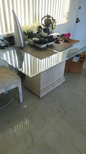 Glass table with stone looking stand for Sale in Hialeah, FL