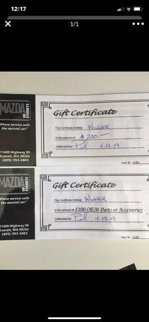 Everett Mazda auto parts/accessories gift certificates for Sale in Edmonds, WA
