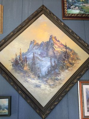 Framed 24x24. Painting by herb schraml of liberty bell North cascades for Sale in Leavenworth, WA
