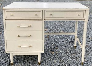 Vintage Mid Century Modern MCM White Lacquered Wood 4 Drawer Writing Desk Vanity Console Table for Sale in Chapel Hill, NC