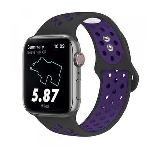 Breathable Sport Strap Wristband Replacement for Apple Watch Series 5 / 4 / 3 / 2 / 1 Sport - 44MM / 42MM - 40MM / 38MM (Black Purple) for Sale in Midland, TX