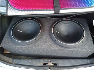 Rockford Fosgate Subs (2) mounted in box & Alpine Amp for Sale in Kansas City, MO
