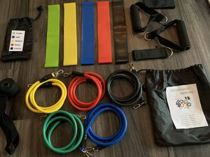 18 Piece Resistance Tube + Resistance Loop Band At-Home Workout Bundle for Sale in Houston, TX