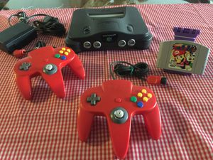 Nintendo 64 w Mario Party game 2 red original Controllers and cables for Sale in National City, CA