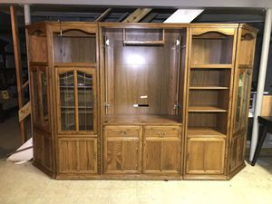 "5 Piece Lighted Entertainment Center- Tons of Storage, Corner Cabinets, Shelves 10'3""x 22""x76"" for Sale in Silver Spring, MD"