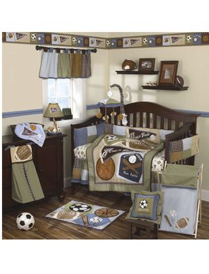 Sports themed infant crib bedding set for Sale in Twinsburg, OH