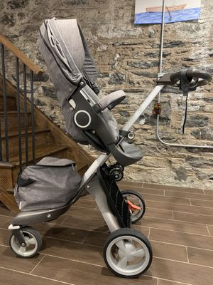 Stokke Xplory Grey Stroller with Sibling Board, Winter Kit, Manuals, Rain Cover for Sale in New York, NY