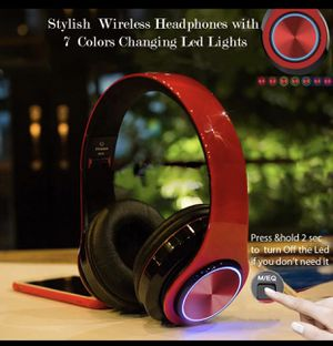 Headphone foldable, wireless Bluetooth, microphone, noise cancellation, led light for Sale in Downey, CA