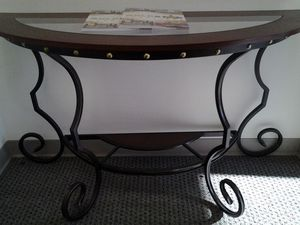 Nail Head Trim Console Table with Glass for Sale in Jessup, MD
