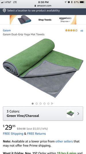 Dual Grip Yoga Mat Towel for Sale in Tyler, TX