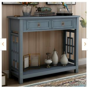 36 in. Navy Rectangle Wood Console Table with 2-Drawers for Sale in Hacienda Heights, CA