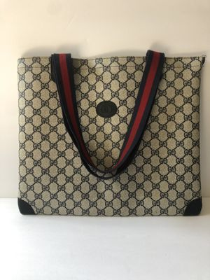 Vintage Large Gucci Tote Bag Purse Blue GG Mono Auth 80s Pvc Vinyl PVC leather for Sale in Manteca, CA