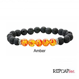 Lava Stone Beaded Bracelet Size Large Men's Amber Stone for Sale in Baltimore, MD