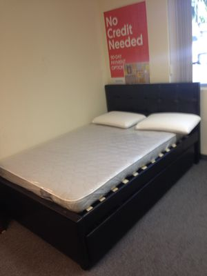 Full black bed frame with mattress and complete twin trundle for Sale in Santa Monica, CA