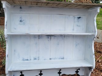 White Farmhouse Wall Shelf W/ Hooks for Sale in Bonney Lake,  WA