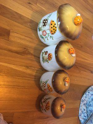 Mushroom jar set of 4 orange white brown antique for Sale in Phoenix, AZ