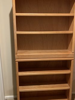 Set of 2 Oak Bookshelves, Bookcases, Shown Stacked In Pics, Each 36 X 36 X 10 for Sale in Roy,  WA