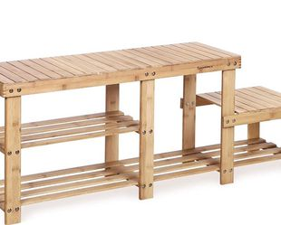 (SALE) Bamboo Shoe Bench Entryway Storage Rack for Sale in Aberdeen,  WA