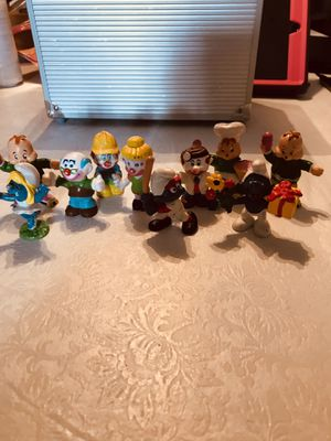 (10) Vintage 2.75-3' inch figures, Smurfs Hong Kong, Mego Toys Clowns Hong Kong and Chimpmunks, 1983 only Theodore (3) for Sale in Hokendauqua, PA