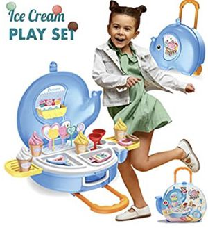 Toys Ice Cream Play Set for Kids - 27pcs Ice Cream Parlor Pretend Play Food Set for Toddlers, Boys & Girls Age 2 3 4 5 +, Ice-Cream Food Trolley Toy for Sale in Oceanside, CA