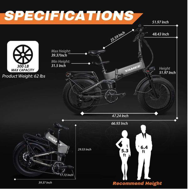 Yamee Ebike Fat Bear Plus 750w 48v 14.5 Folding bike with full suspensions