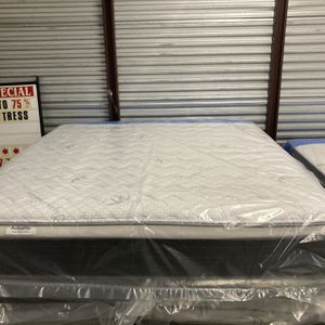 New King Actualite Plush Pillow Top Mattress And Box Spring. Free Local Delivery for Sale in Winter Park, FL