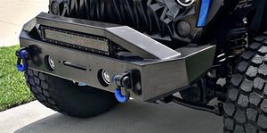 "$260.00 will fit JL, , JK and JKU - Razer Auto Black Textured Rock Crawler Stubby Front Bumper with OE Fog Light Hole, 2x D-Ring and Built-In 22"" LED for Sale in Riverview, FL"