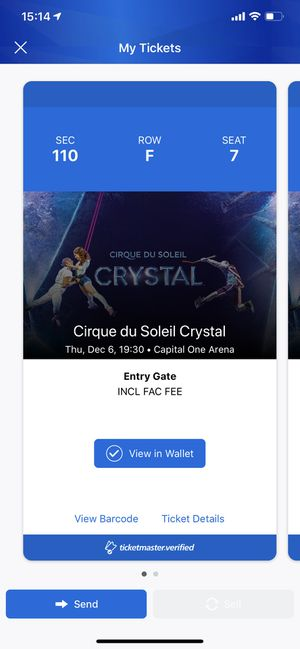 Cirque du Soleil Crystal. 2 tickets for sale for Sale in Arnold, MD