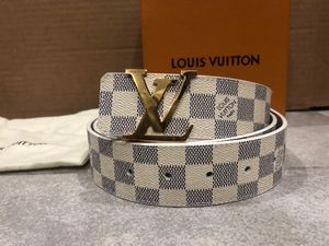 White Louis Vuitton Damier Azur Belt *Authentic* for Sale in Queens, NY