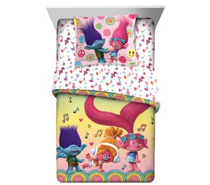 Trolls 2Pc Comforter and Sham Set, Kids Bedding, Reversible, Poppy Branch and DJ Suki, TWIN/FULL for Sale in Salisbury, NC