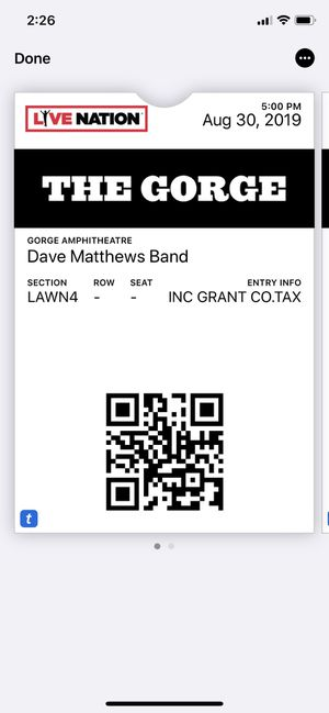 Tickets to Dave Matthews Band at the Gorge Amphitheatre (Fri 8-30-19) for Sale in Portland, OR