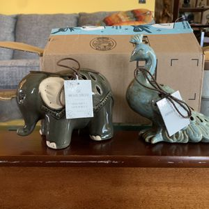 Home Decor Potpourri Holders (elephant and Peacock) for Sale in Elma, WA