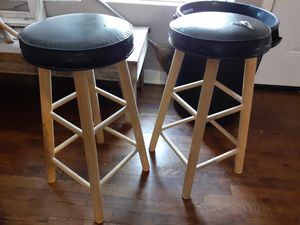 Small wood stools black leather top for Sale in Austin, TX