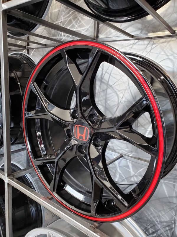 "18"" honda type r style wheels fit civic accord crv black red strip 5x114 rim wheel tire shop"