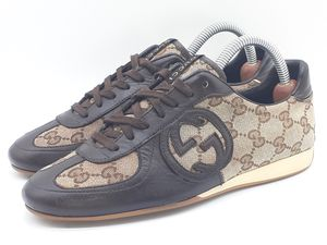 GUCCI Women's Sneakers US 5.5 EU 35.5 Canvas/Leather Monogram Shoes 182303 $520 for Sale in Hayward, CA