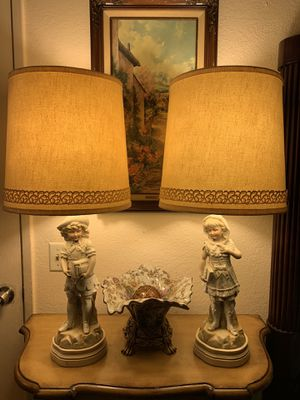 """Vintage German Bisque Porcelain figurines of a Boy and Girl Table Lamps 31"""" for Sale in Palmdale, CA"""