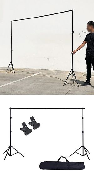 New in box $30 Adjustable Backdrop Stand (6.5ft tall x 10ft wide) Photo Photography Background w/ Carry Bag & 2 Clip for Sale in Montebello, CA